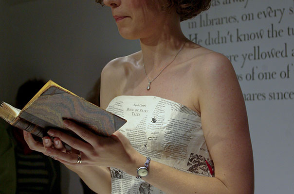 Clare Massey reads wearing the Word Dress